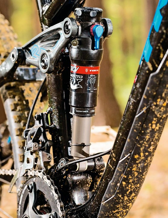 The Fox shock uses Trek's Dual Rate Control Valve design, where a second chamber creates a more linear end-stroke. It swallows rocks, but leaves little to push against