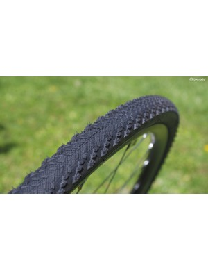 The Bontrager CX0 TLR tires are designed for faster courses where straight-line traction isn't as much of an issue