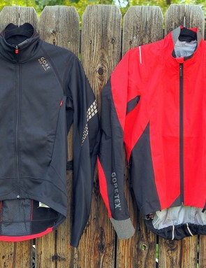 Gore Bike Wear is ready for inclement weather with the fleece-backed Xenon 2.0 SO jacket (left) and the lightweight Oxygen 2.0 GT AS shell (right), both built with Gore-Tex laminated membrane fabrics