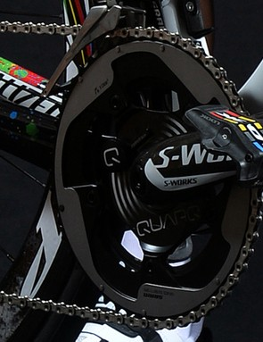 The S-Works cranks are integrated with Quarq for Specialized power meter. The Look Keo Blade 2 pedals go nicely