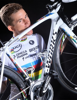 We think it's a good sign that Kwiatkowski is trying to eat his new bike