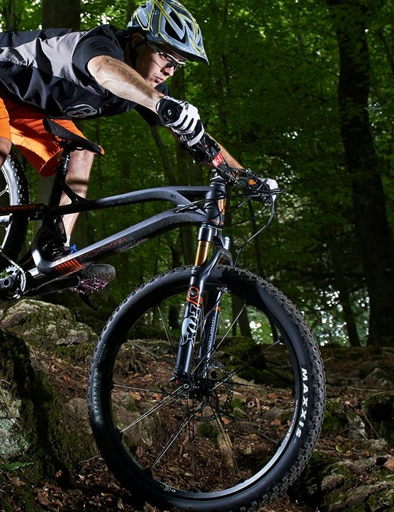 Unfortunately, the flexy Crank Brothers wheels mean rough trails can become a handful quickly