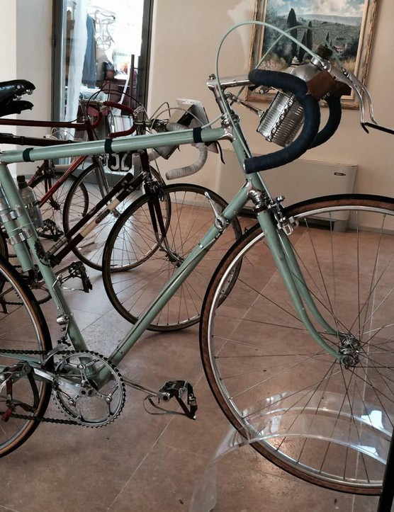 Fausto Coppi's 1949 Bianchi Corsa Simplex. With hand-crafted chrome lugs and classic Celeste paint, it's a work of art.