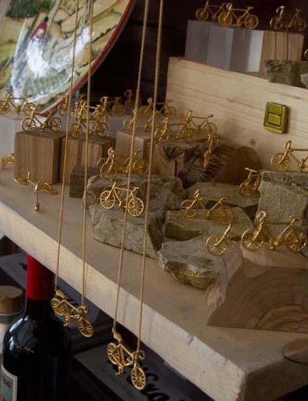 The official L'Eroica shop in the centre of Gaiole offers everything from classic bikes and kit to jewellery and the occasional bottle of Chianti