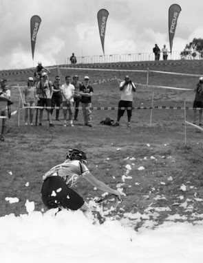 The mid-race foam pit was a popular attraction at last year's Rapha Super Cross race
