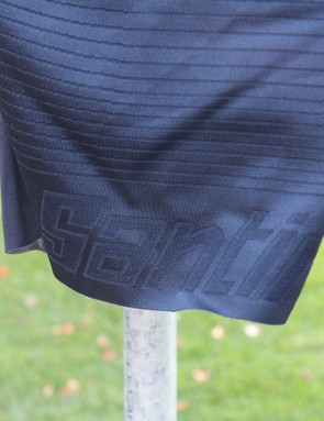 Santini calls this fabric Onda (wave), as single and multiple elastane threads alternate for varying compression
