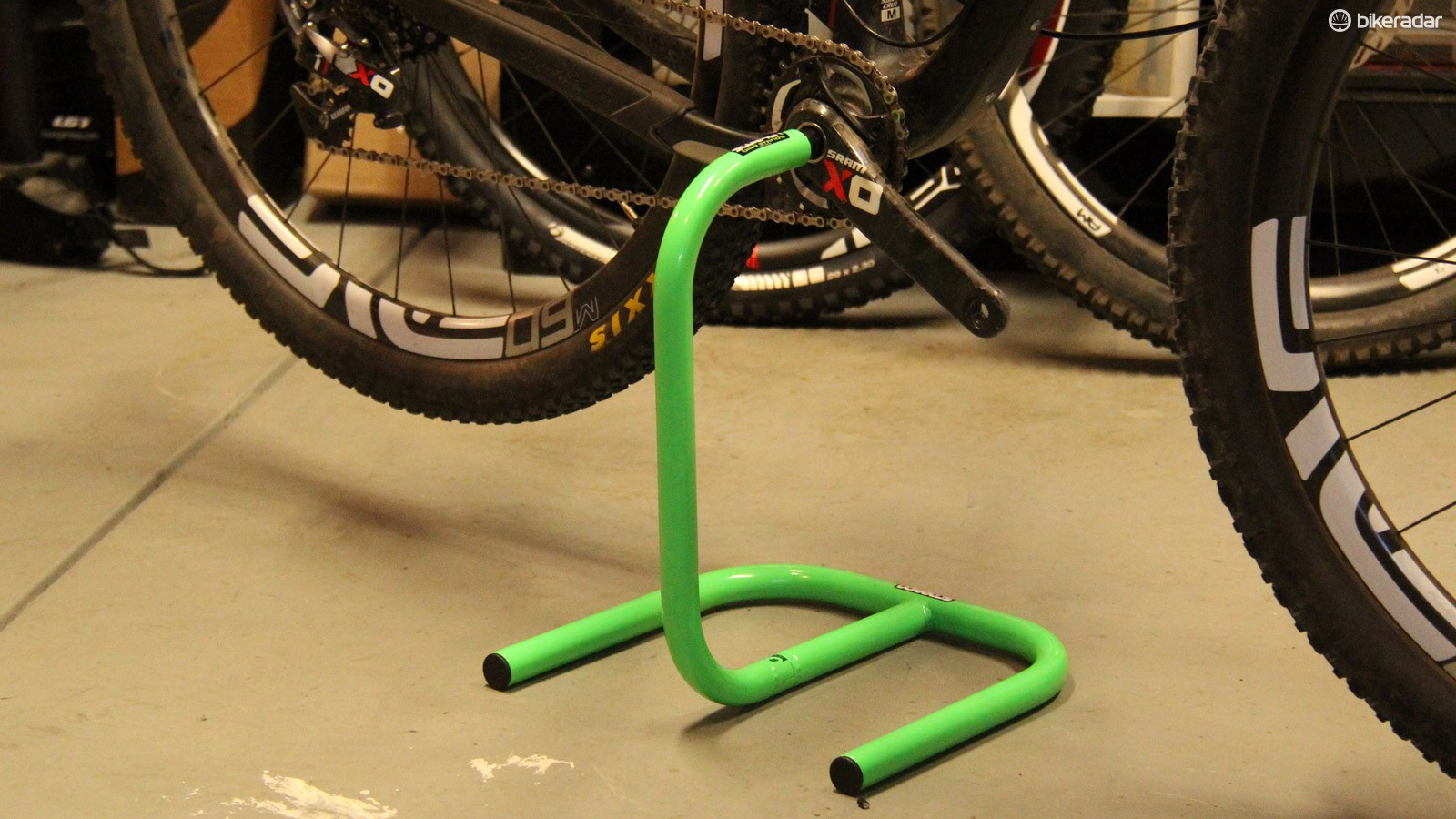 Scorpion's moto-inspired stands will work with any bicycle, provided it is equipped with a crankset that has a spindle