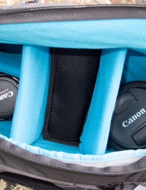 The padded camera compartment is relatively small, but still allows for customization
