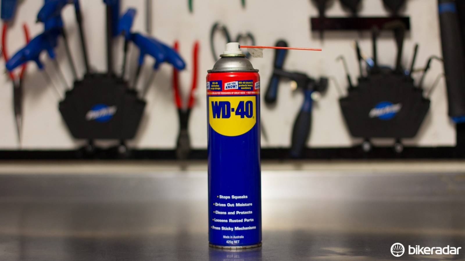 Perhaps the most controversial item in a cycling workshop. WD-40 is still handy to have around — just don't use it as a chainlube (even WD-40 makes a product for that)