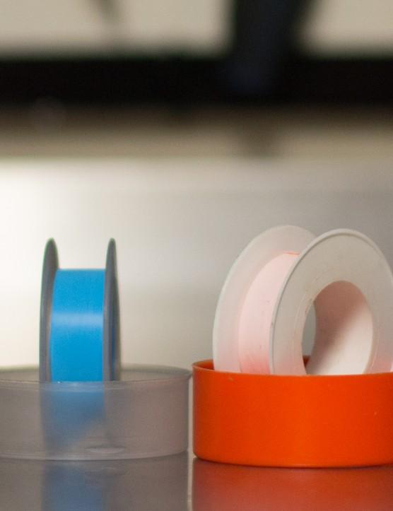 Plumber's tape (AKA thread seal tape and/or Teflon tape) — perfect for a creaking threaded bottom bracket