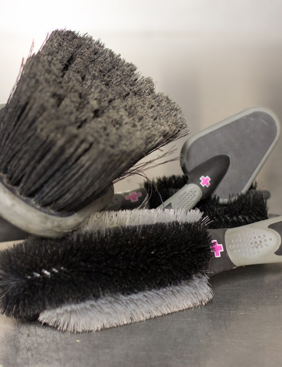 Bicycle cleaning brushes are readily available through bike stores, but most auto-repair stores offer similar things for cars