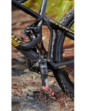 Mondraker's proven Zero dual-link system puts out 140mm (5.5in) of rear wheel travel
