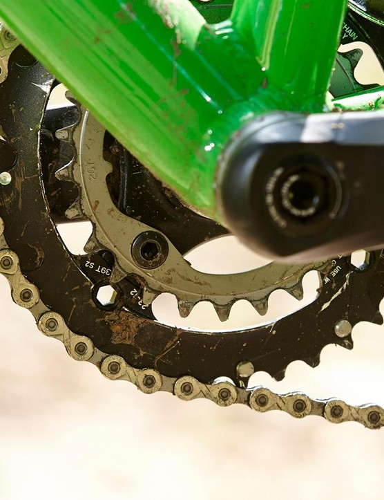 The bottom bracket is a conventional screw-in style for creak free running