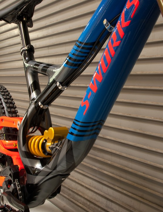 Ken Block's custom Specialized S-Works Demo 8 is fitted with an Ohlins rear shock