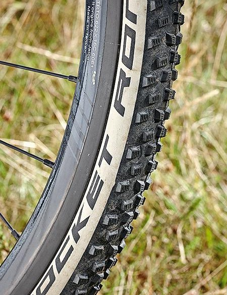 Schwalbe's Rocket Ron tyres aren't as fast as slicks, but you'll appreciate them on the trail