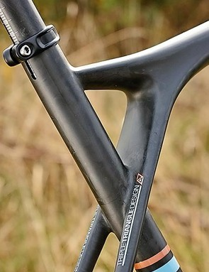 GT's skinny seatstays have a solid glass fiber core wrapped in a layer of carbon