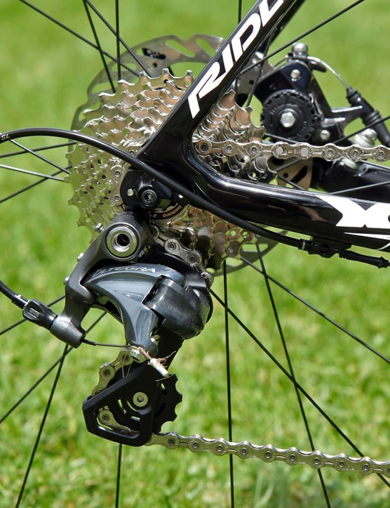 Shift quality with the Shimano Ultegra transmission is as you'd expect: silky smooth, consistent and quiet