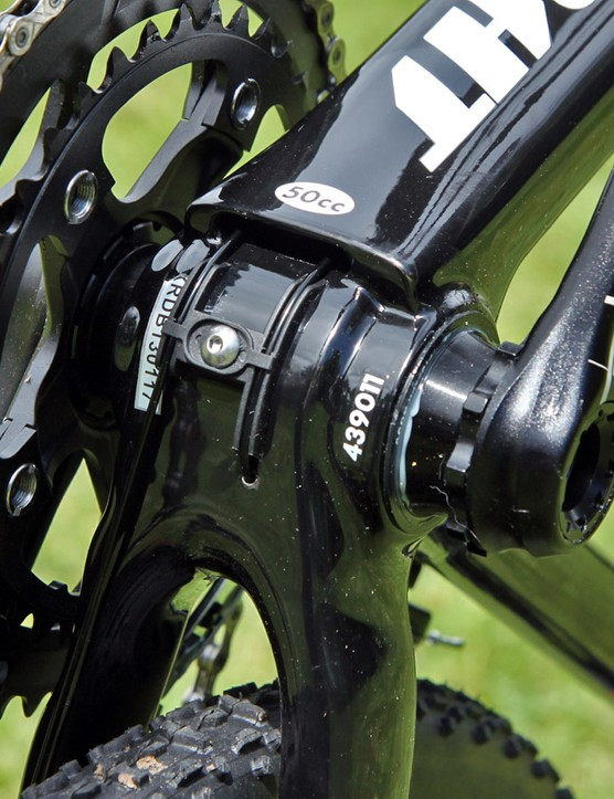 The big slot at the bottom of the down tube makes it relatively easy to feed cables through