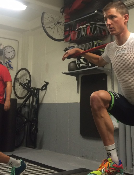 The off-season is perfect for cross-training, strength training and working on your muscle imbalances. Pictured is Belkin professional David Tanner doing just that