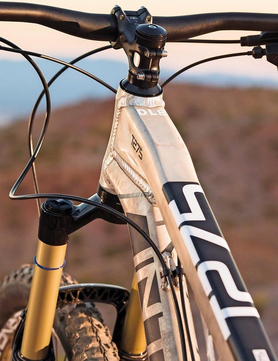 The muscular lines of the original Tracer's clam shell monocoque top tube remain...