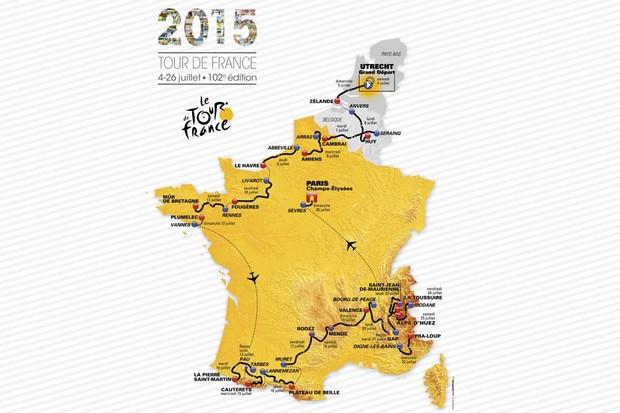 The map of the 2015 Tour de France
