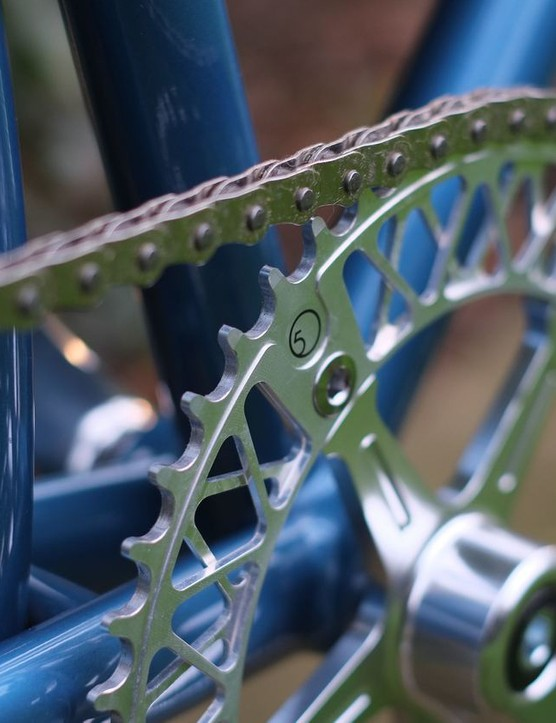 This intricate Lattice chainring from Chinese firm Factory Five is a nice touch