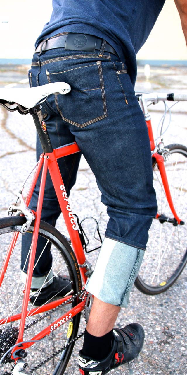 The new 12.5 oz Riding Denim has reflective panels on the inside of the legs