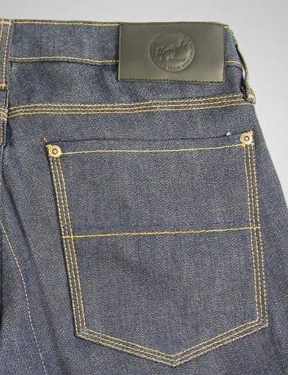The gusset crotch, a standard feature on cycling jeans, reduces wear at a critical junction