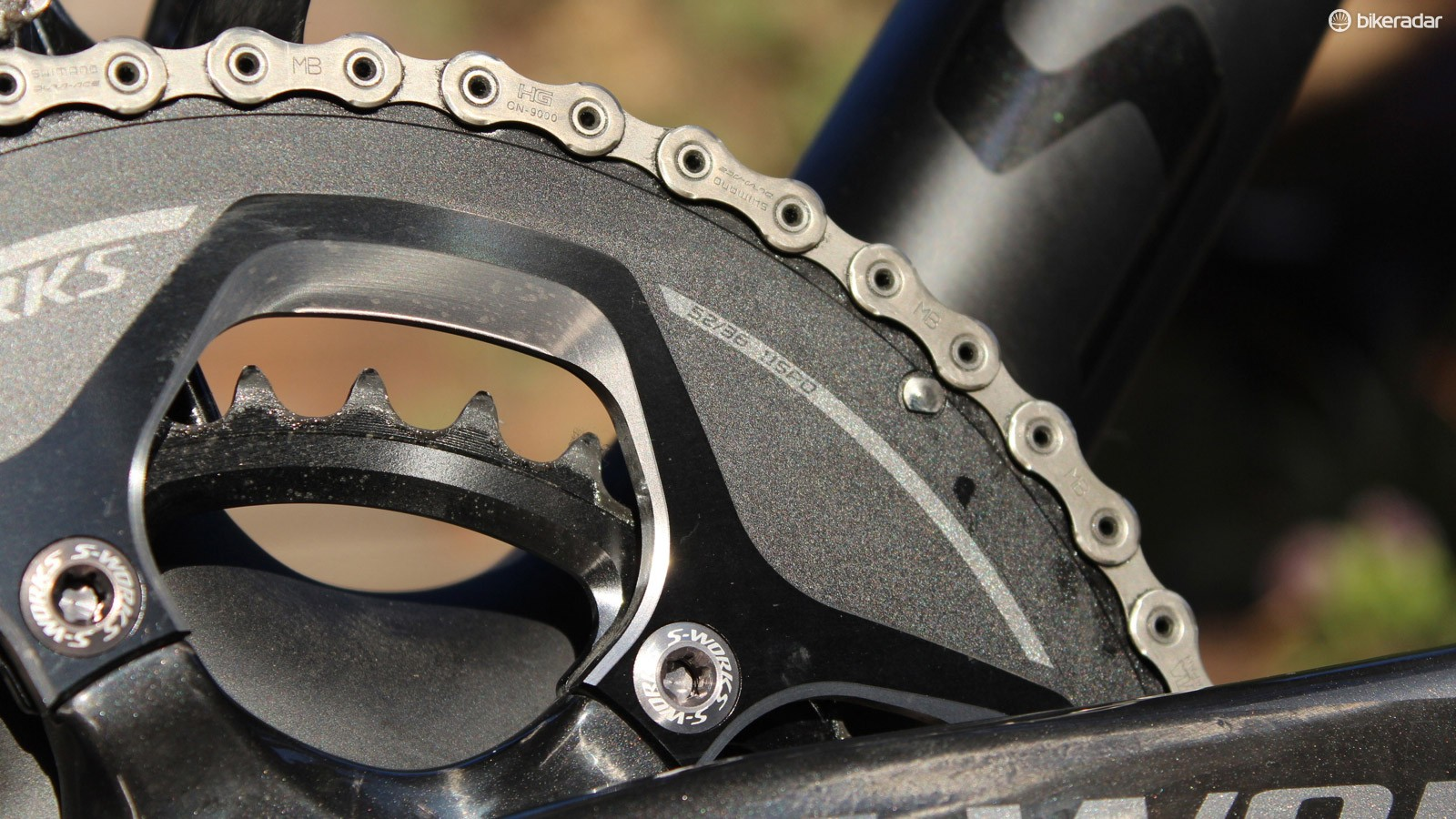 We love the 52/36 combo, but we prefer Shimano Dura-Ace rings to S-Works for stiffness and shifting