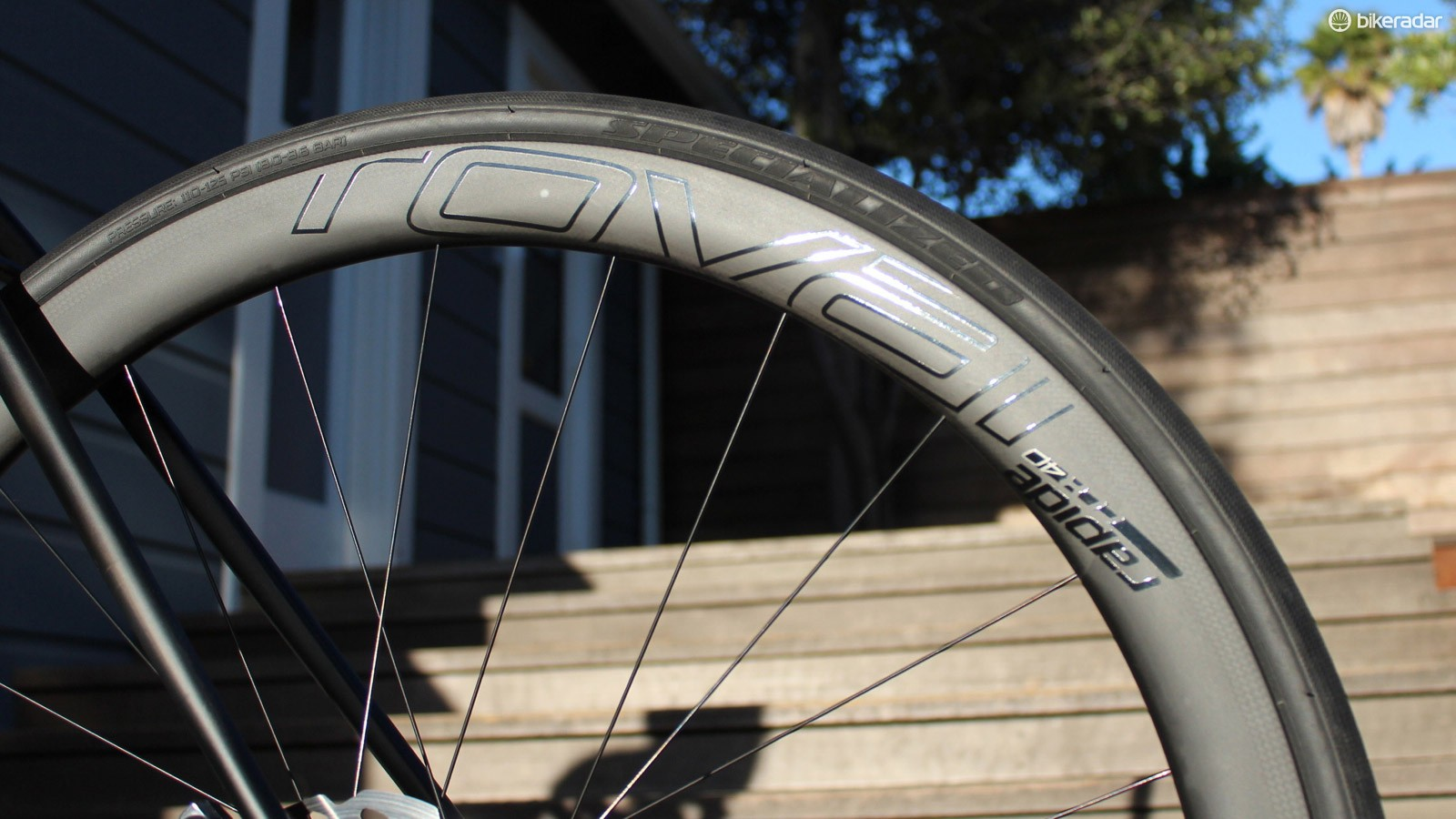 Specialized's house-brand Roval carbon clinchers held up well despite a few hundred miles on dirt (and many more on paved roads)