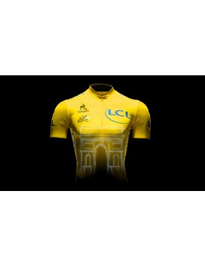 The 2015 yellow jersey features an Arc de Triomphe motif on the front