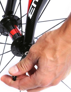 Quick-releasing the front wheel is the easy bit