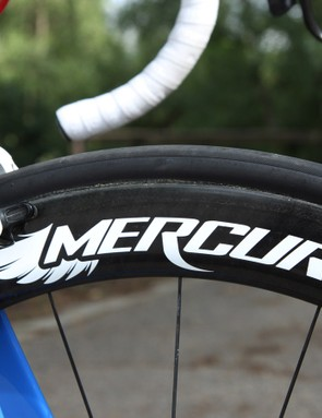 Marcotte's bike was fitted with a 55mm-deep front wheel and an 80mm-deep rear wheel