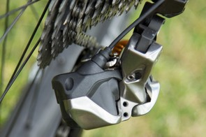 A rear view of the derailleur