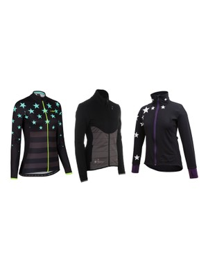Glowinski says the DHB jersey borrows elements from her Snow Cat jersey (middle) and winter long sleeve Star Jersey (right)