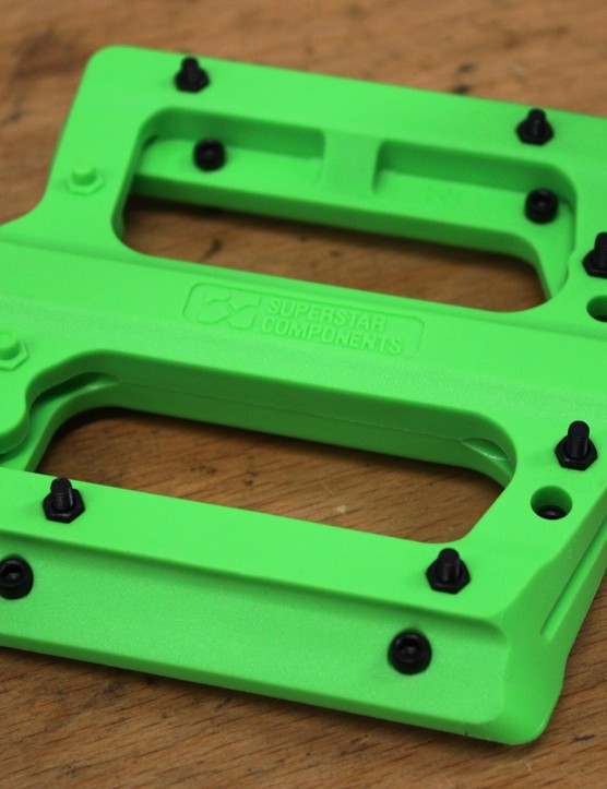 The El Plastique plastic pedals are available in black, white, green and red