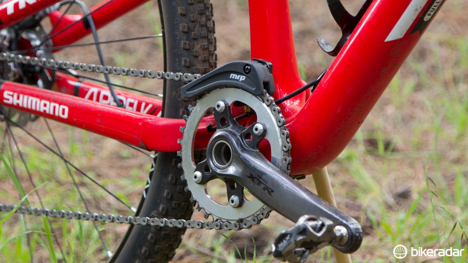 The prototype Shimano 36T single ring features a slightly hooked and raised tooth profile for chain security, but McConnell's mechanic is taking no chances and has fitted a MRP 1X top chainguide too