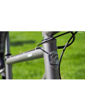 Moots still uses real bolt-on head tube badges on its bikes - and this one's a beaut