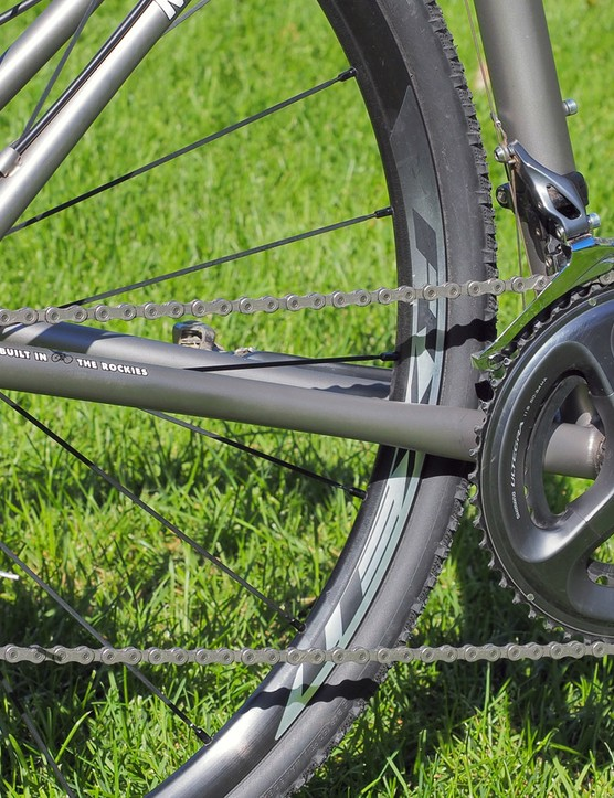 The titanium chainstays are slightly ovalized as needed to boost tire and chainring clearance
