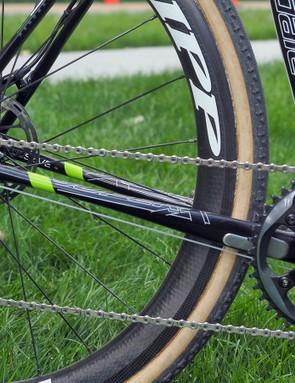 The flattened chainstays lend a smooth ride to the Cannondale SuperX Disc
