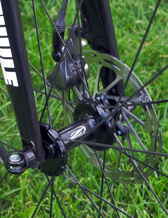 Cannondale was an early adopter of disc brakes in cyclocross as well but at least for now, the SuperX Disc frameset still uses quick-release hubs front and rear
