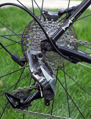 The SRAM Force CX1 rear derailleur is a close cousin to the XX1 mountain bike version