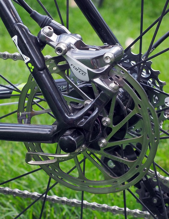While there's still some debate in the cyclocross surrounding rotor size, Tim Johnson (Cannondale-Cyclocrossworld.com) has settled on 140mm rotors front and rear