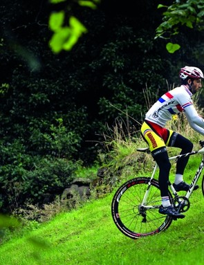 To climb steep banks, bring in as much momentum as you can, and shift into a small gear before you hit the hill