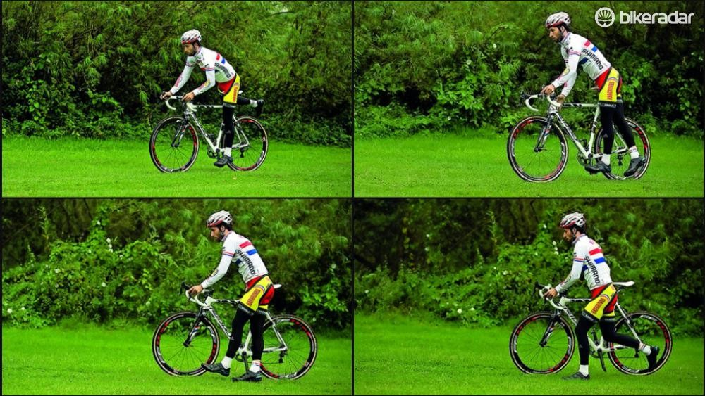 Dismount by unclipping your right foot, swinging your right leg over the bike while weighting the bike with your right hand on the top tube, then hopping off right before an obstacle