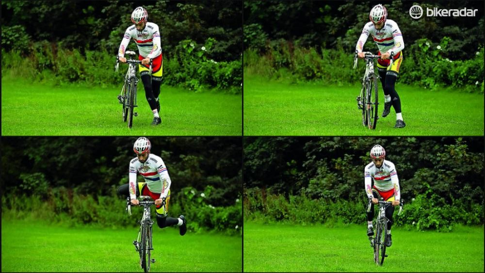 Remount the bike as quickly and as smoothly as possible after an obstacle