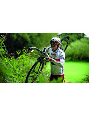 Shouldering the bike is the best way to go on foot over longer distances, or up steep run-ups