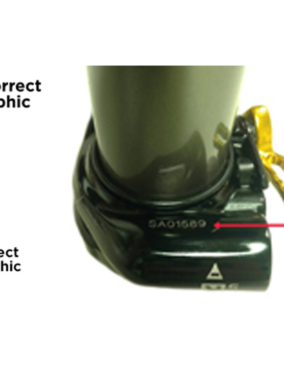 High-speed rebound on the DBinline shock is decreased by turning the adjuster counter-clockwise and increased by turning it clockwise. The incorrect graphics direct the opposite; that is, the plus (+) and minus (–) symbols are transposed