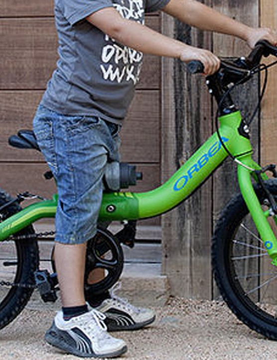 This Orbea bike uses 12in wheels. It's rare in that it has pedals. Most 12in kids' bikes are so-called balance bikes, propelled by little feet (and sometimes gravity)