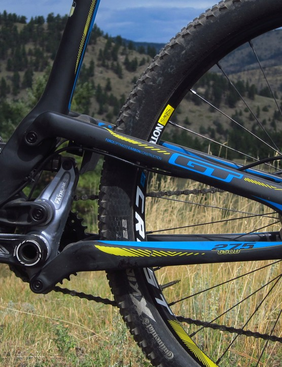 Cast aside any bad memories of GT's old i-Drive suspension design. The new Angle Optimized Suspension system offers the bump-eating abilites of a high main pivot but without any of the negative pedaling feedback